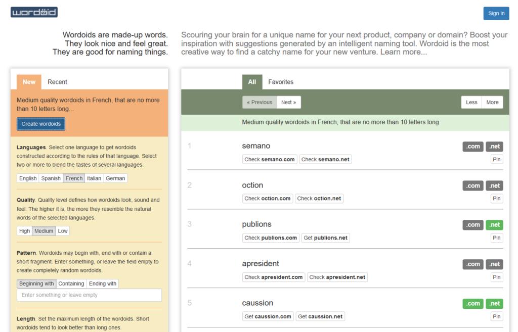 Utiliser Wordoid pour trouver un nom de blog