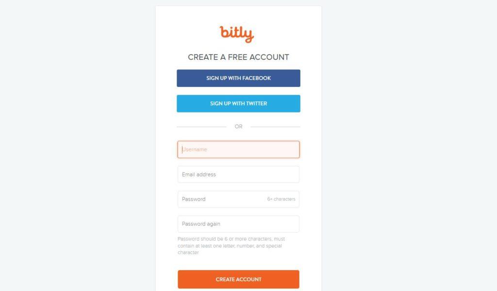 Créer un compte gratuit Bitly