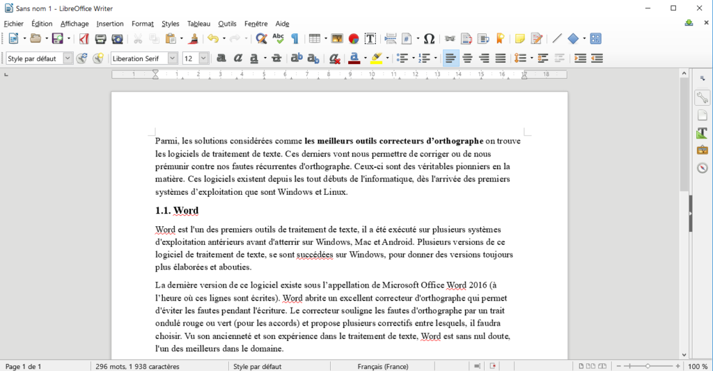 LibreOffice - Traitement de texte et correction de fautes gratuits