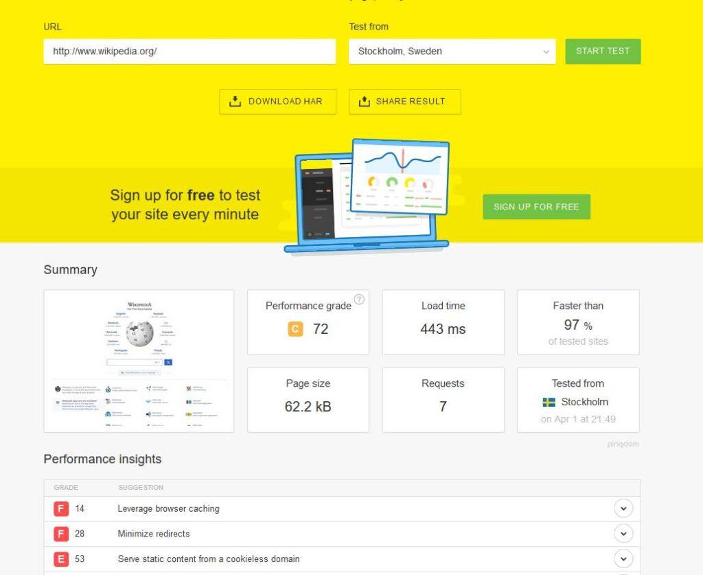PingdomTools pour tester la vitesse de chargement de votre site internet