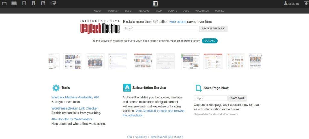 Wayback Machine est utile parmi les meilleurs outils pour améliorer votre référencement SEO