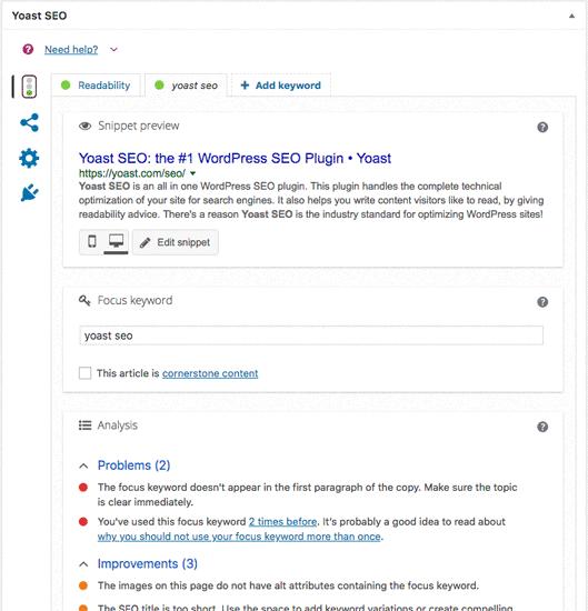 Yoast SEO plugin pour améliorer votre référencement
