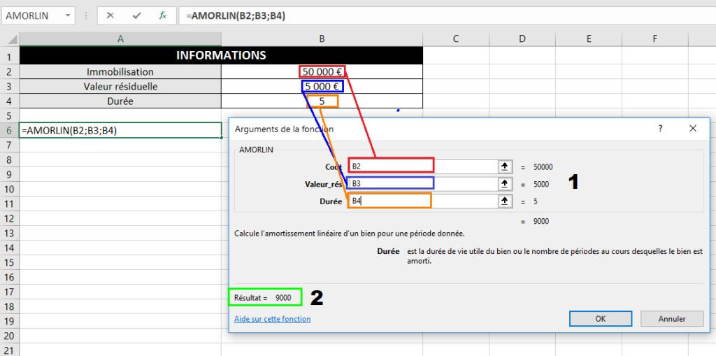 Amortissement linéaire avec une fonction Excel