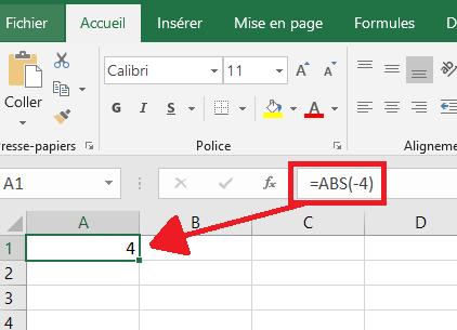 Formule ABS dans Excel