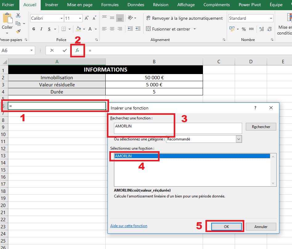 Icône pour insérer la fonction AMORLIN dans Excel