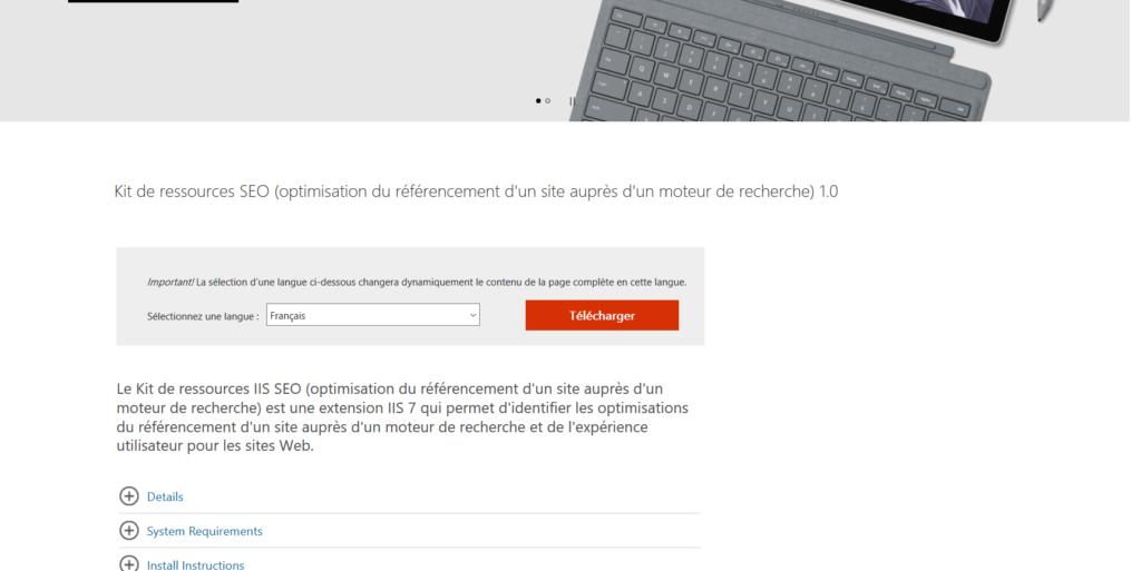 Microsoft SEO outils