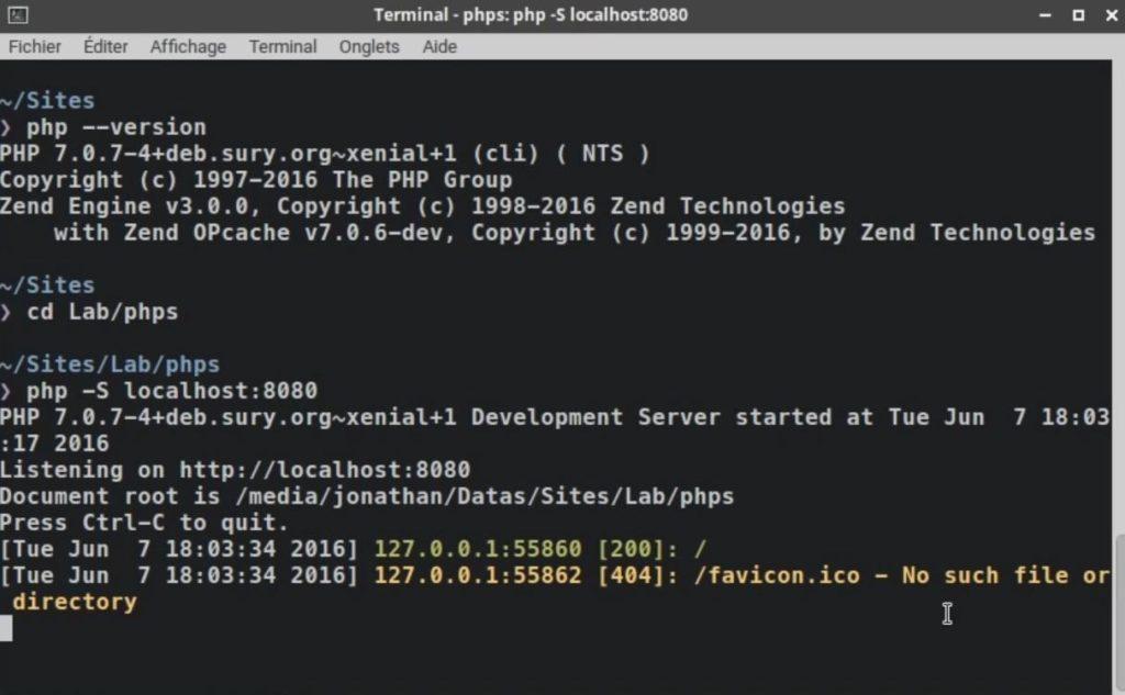 Serveur Web PHP - Le serveur interne du langage PHP