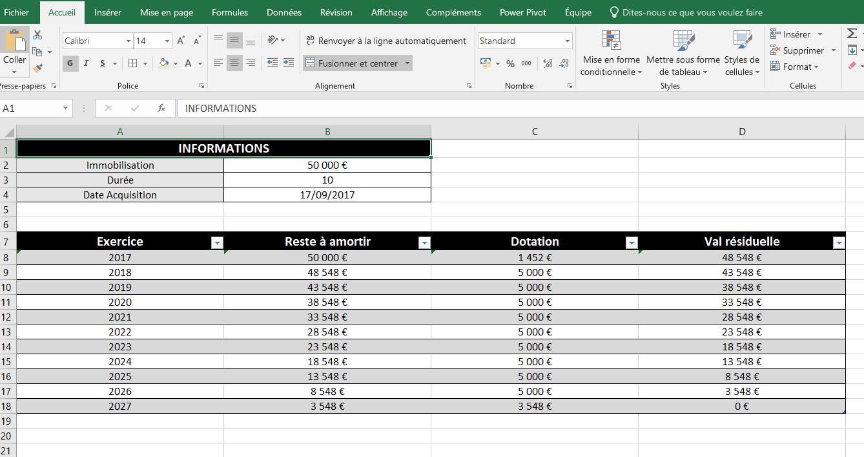 Tableau pour calculer un amortissement linéaire dans Excel