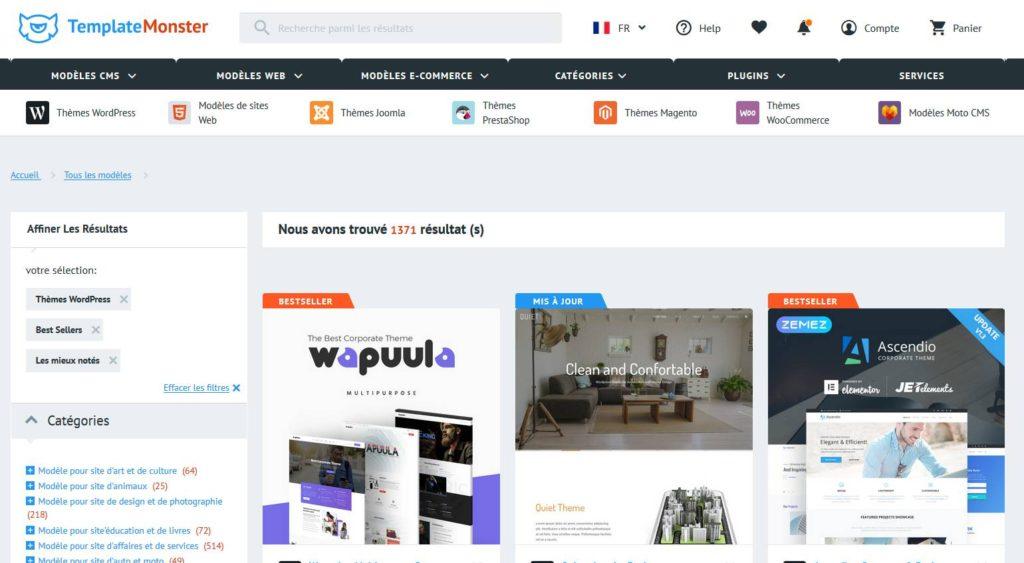 Des thèmes WordPress dans TemplateMonster
