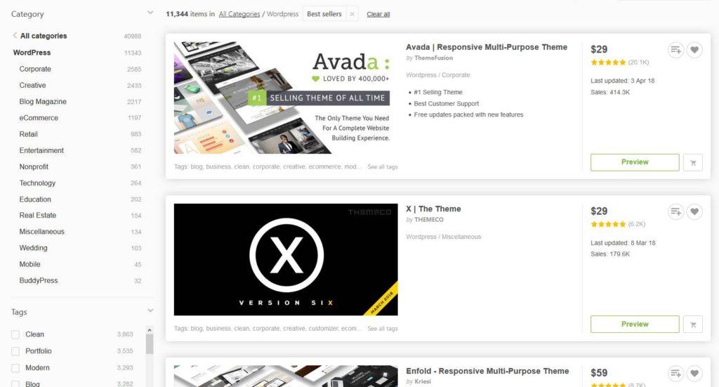 ThemeForest pour trouver un thème WordPress