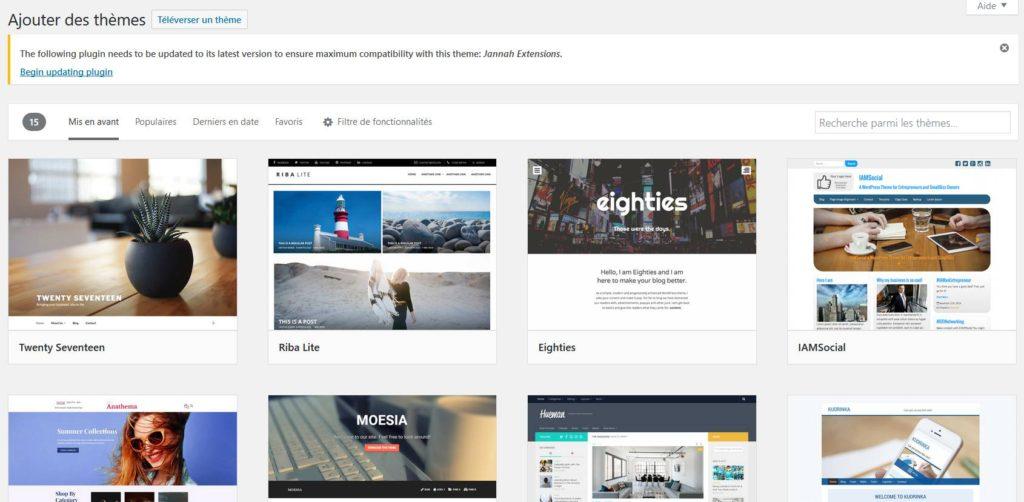Trouver des thèmes gratuits WordPress