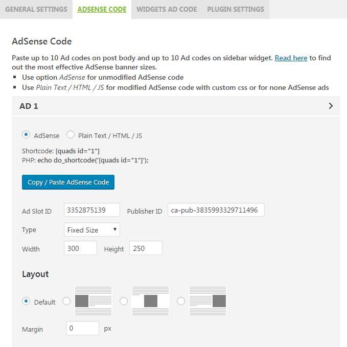 AdSense Plugin WP QUADS - Plugin spécialisé pour la régie Google