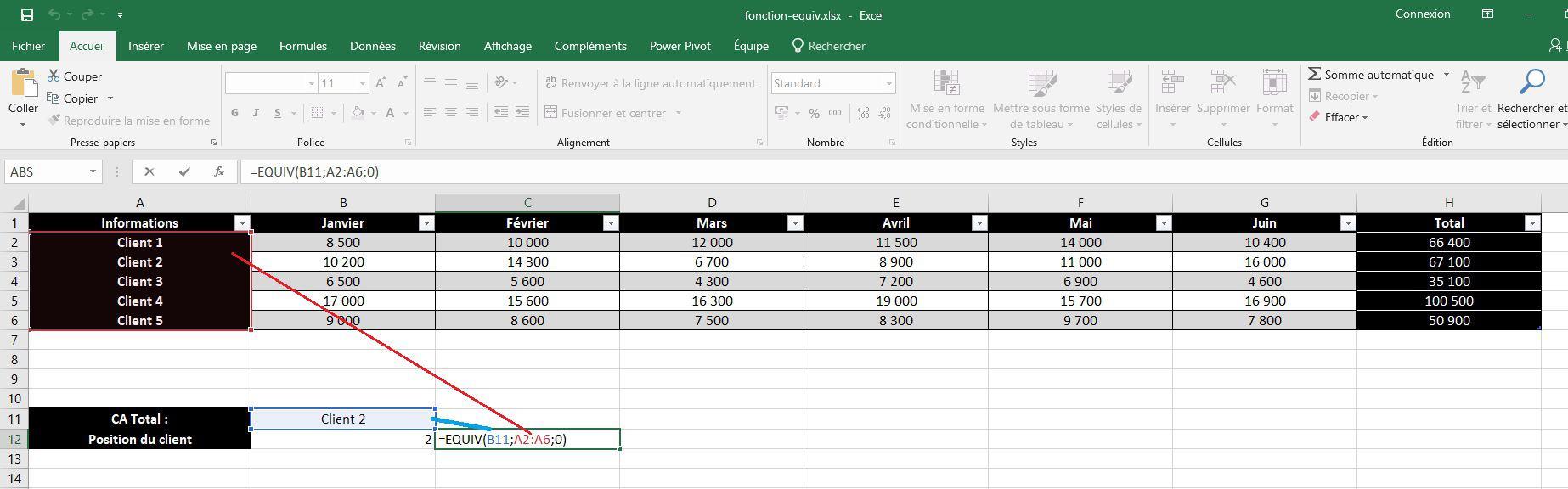 Fonction EQUIV dans Excel avec le mode exact