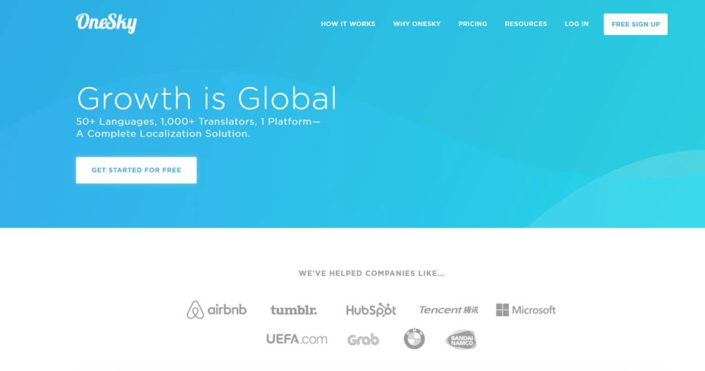 OneSky - Page d'accueil du site de traduction