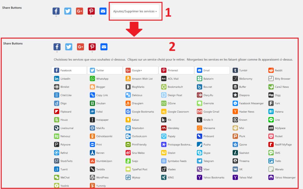Choisir boutons de partage réseaux