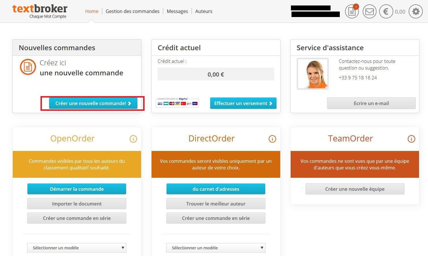 Créer une commande dans TextBroker