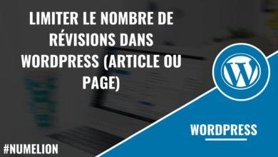 Limiter le nombre de révisions dans WordPress (article ou page)