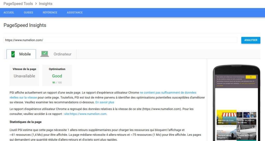 PageSpeed Insight un outil de Google pour tester vos pages
