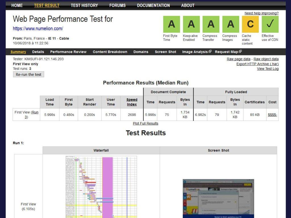 WebPagetest un outil de référence pour tester la vitesse de chargement des pages d'un site