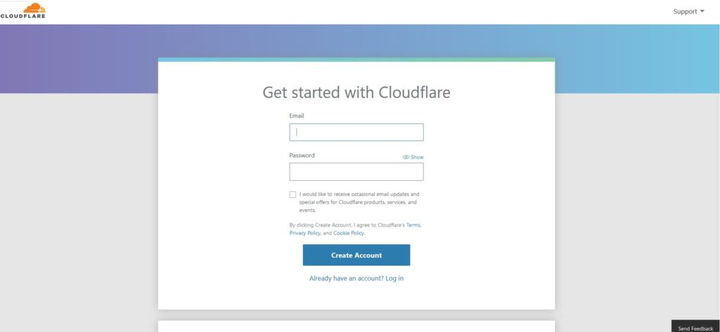 Créer un compte Cloudfare