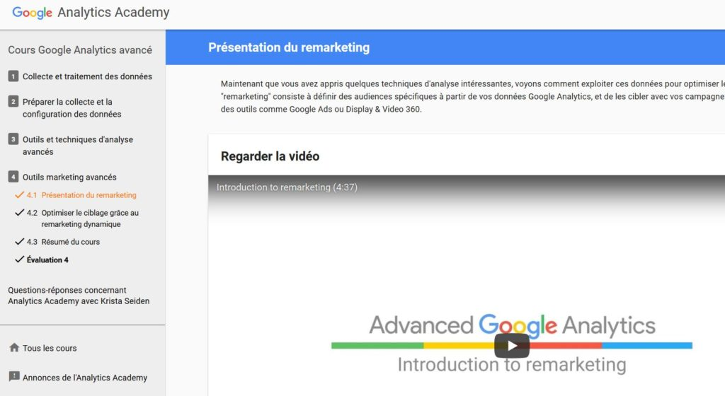 Formation Google Analytics officielle