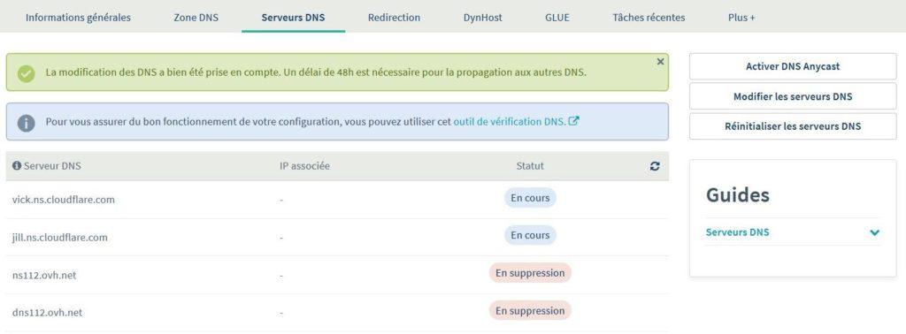 Modifier serveur DNS