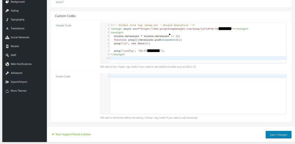 Option pour insérer le code dans la partie administration d'un thème WordPress