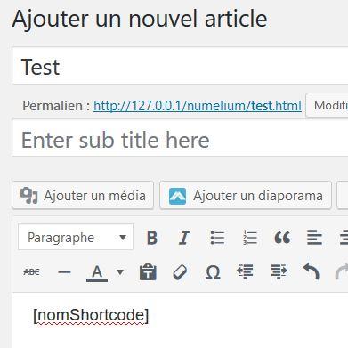 Ajouter un shortcode dans un article