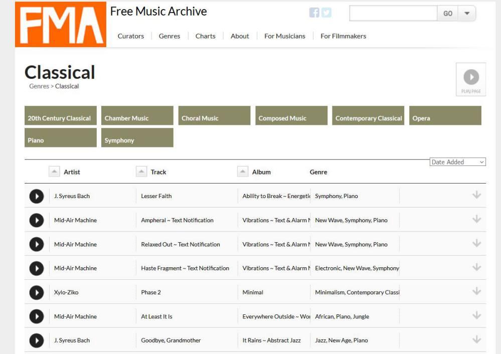 Free Music Archive -Plateforme de sons en ligne