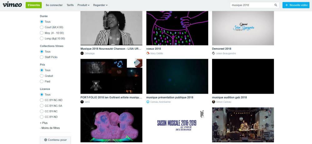 Vimeo - Recherchez des musiques gratuites avec licence Creative Commons