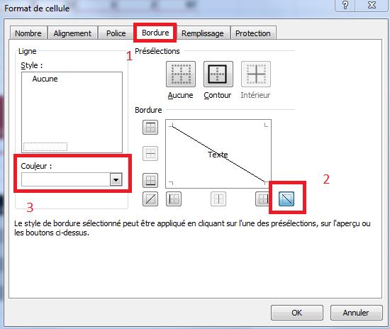 Créer une diagonale dans une cellule Excel