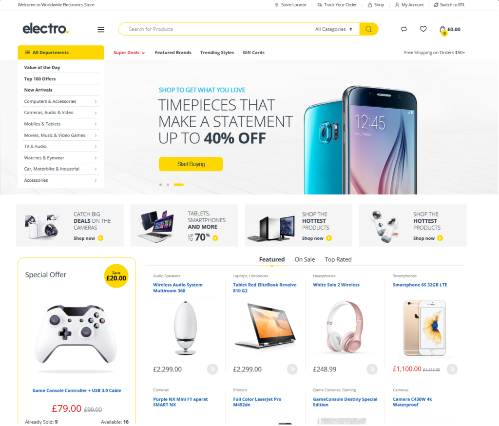 Page d'accueil ecommerce