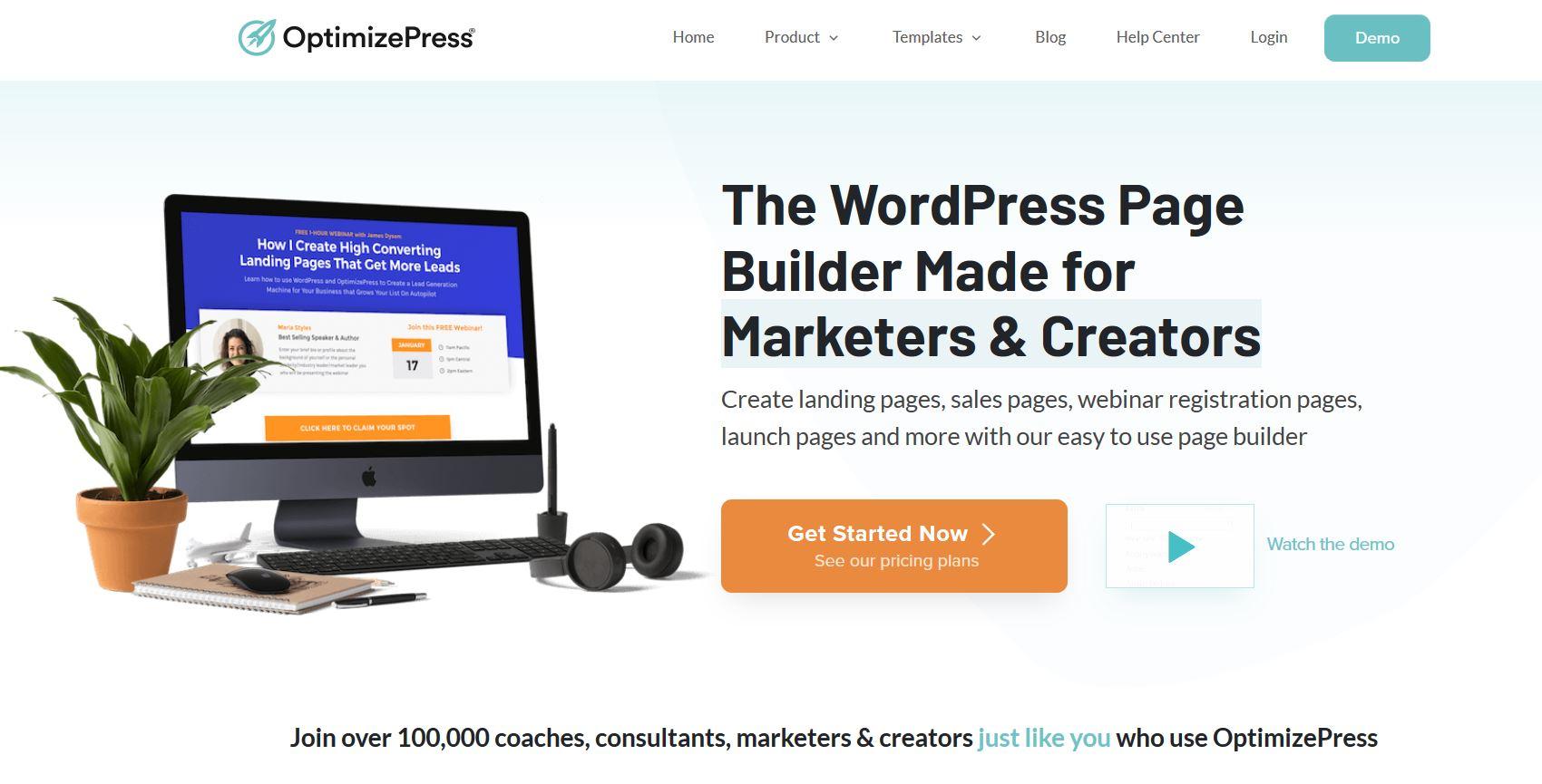 Page d'accueil du site OptimizePress