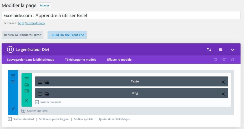 Utiliser DIVI pour créer une page d'accueil