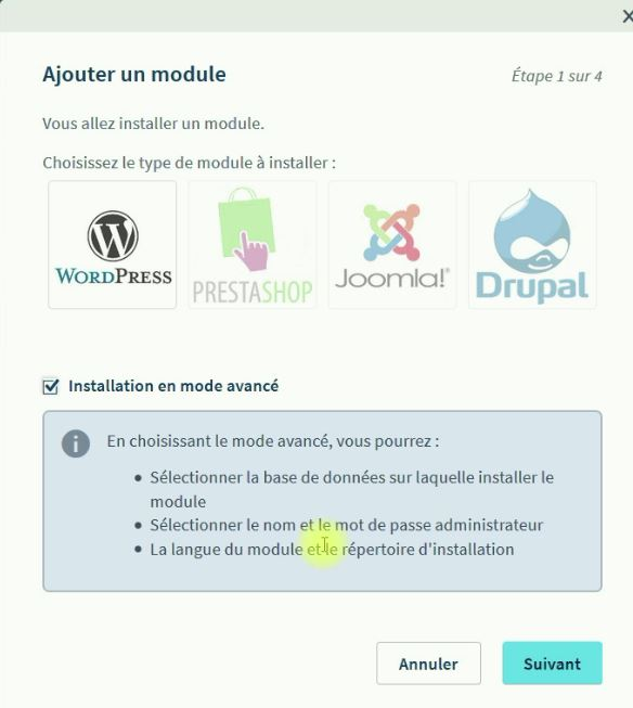 Ajout du module WordPress