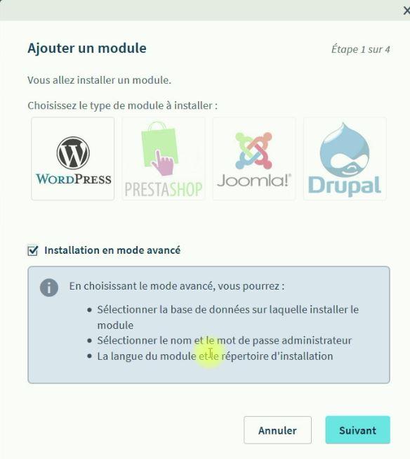 Ajout du module WordPress