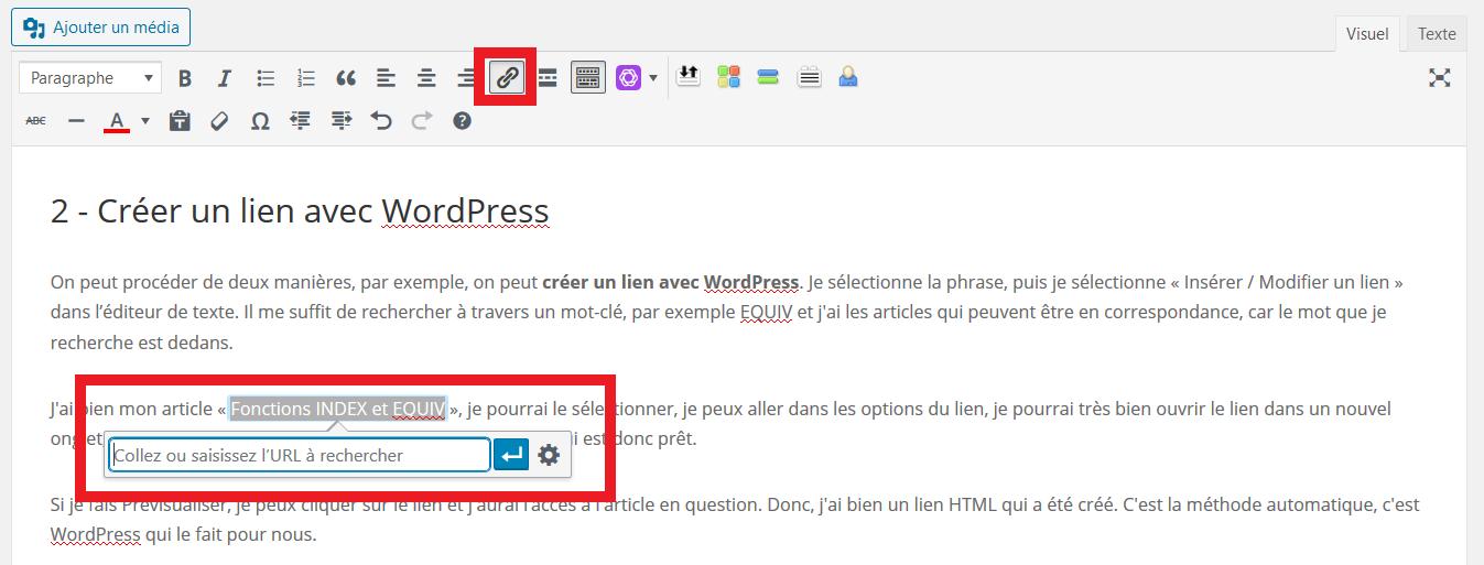 Créer un lien HTML avec WordPress