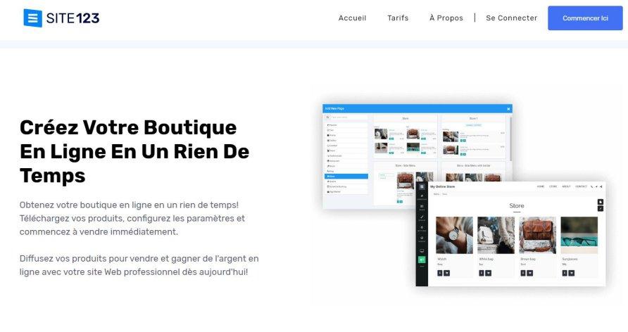 Créer une boutique en ligne avec site123.com