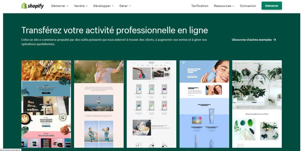 Créer une boutique avec Shopify