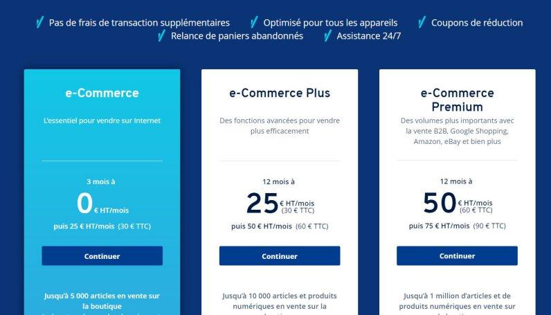 Les tarifs d'une boutique en ligne avec Ionos 1 & 1