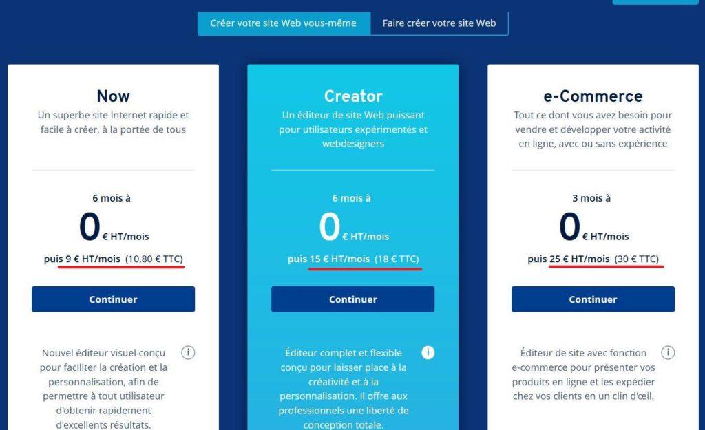 Les tarifs pour créer un site web avec Ionos de 1 & 1