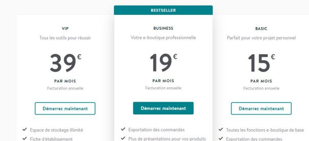 Tarifs site e-commerce avec Jimdo