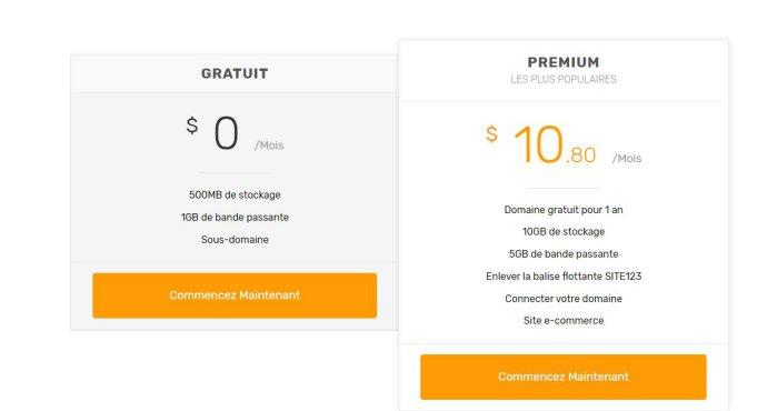Les tarifs d'une eboutique avec site123.com