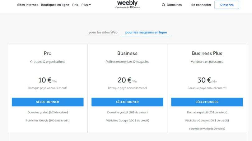 Prix d'une boutique avec Weebly